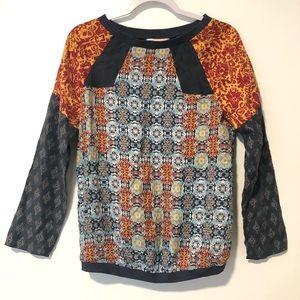 Sundance Silk Multi Print Long Sleeve Shirt Top XS